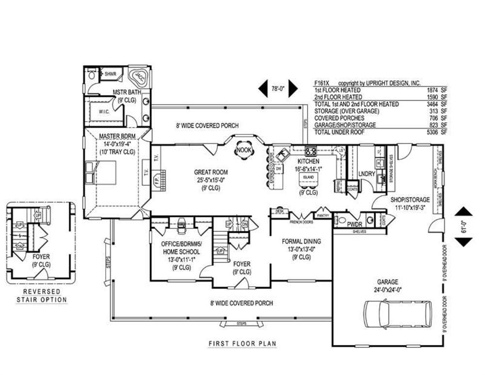 House Plan F161X Main Floor Plan