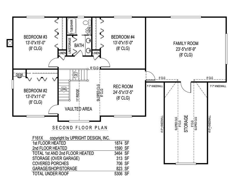 House Plan F161X Second Floor Plan