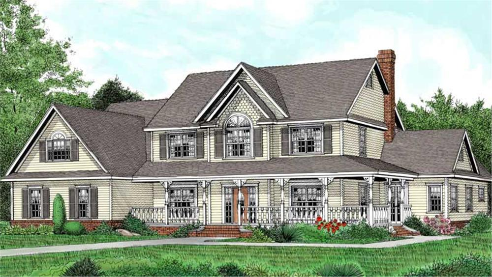 Front elevation of Country home (ThePlanCollection: House Plan #173-1006)