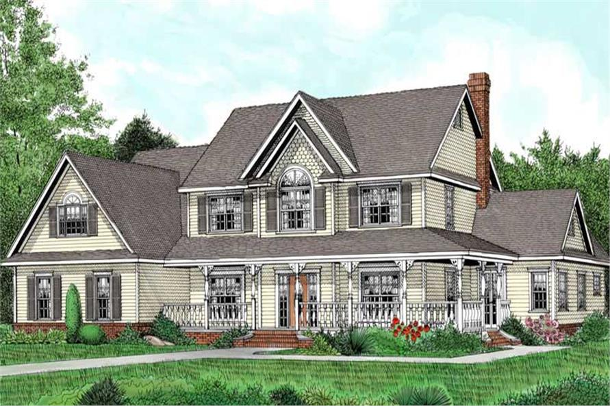 5-Bedroom, 3005 Sq Ft Country House Plan - 173-1006 - Front Exterior