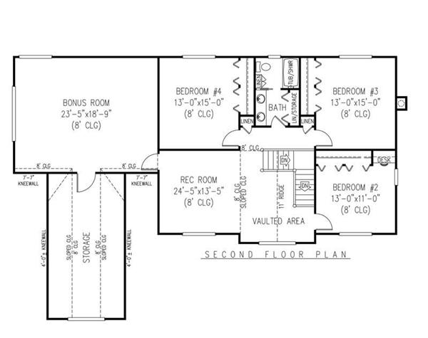 House Plan F161g3 Second Floor Plan