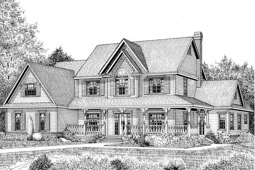 Home Plan Front Elevation of this 5-Bedroom,3464 Sq Ft Plan -173-1007