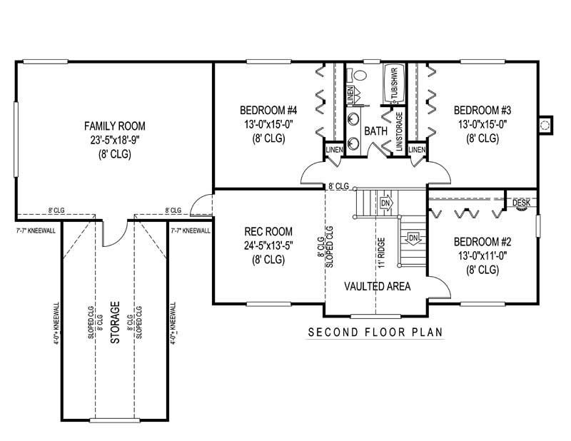 House Plan F161g3X Second Floor Plan