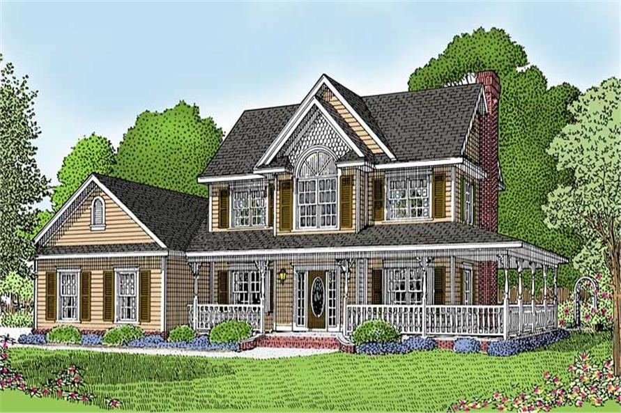 4-Bedroom, 1840 Sq Ft Country House Plan - 173-1008 - Front Exterior