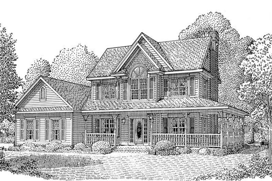 Home Plan Front Elevation of this 4-Bedroom,1840 Sq Ft Plan -173-1008