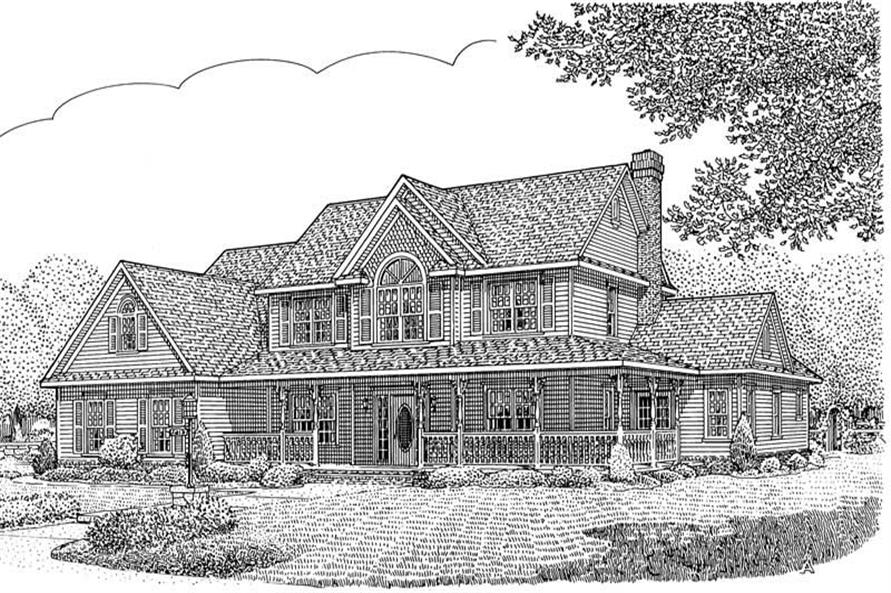 Home Plan Front Elevation of this 5-Bedroom,2984 Sq Ft Plan -173-1009