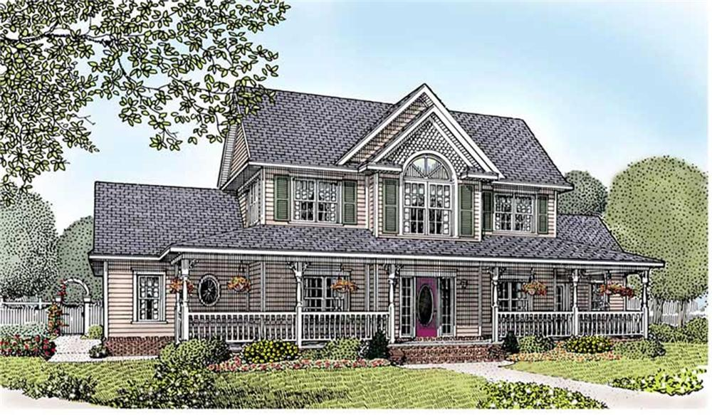 Front elevation of Country home (ThePlanCollection: House Plan #173-1010)