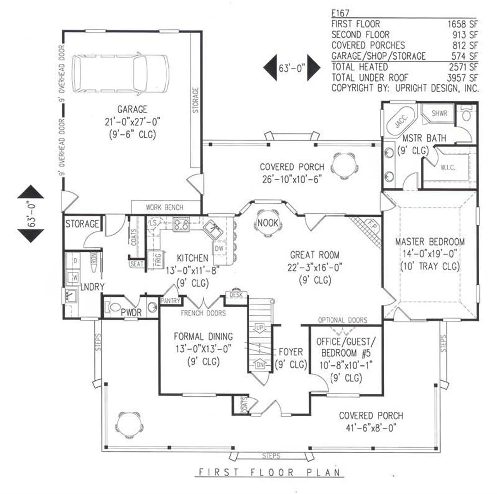 House Plan E167 Main Floor Plan