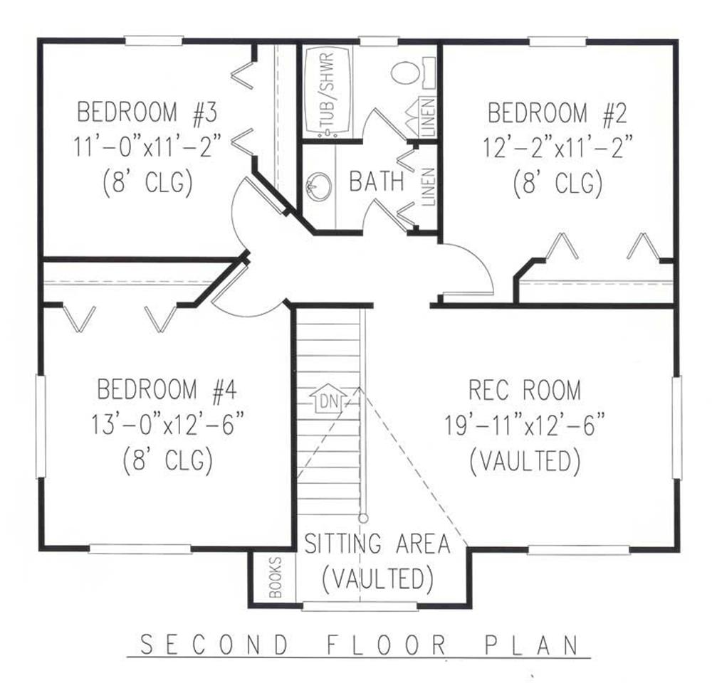 House Plan E167 Second Floor Plan