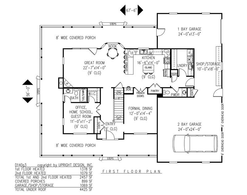 House Plan D140g3 Main Floor Plan