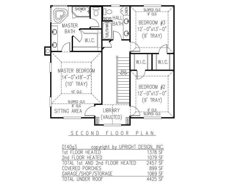 House Plan D140g3 Second Floor Plan
