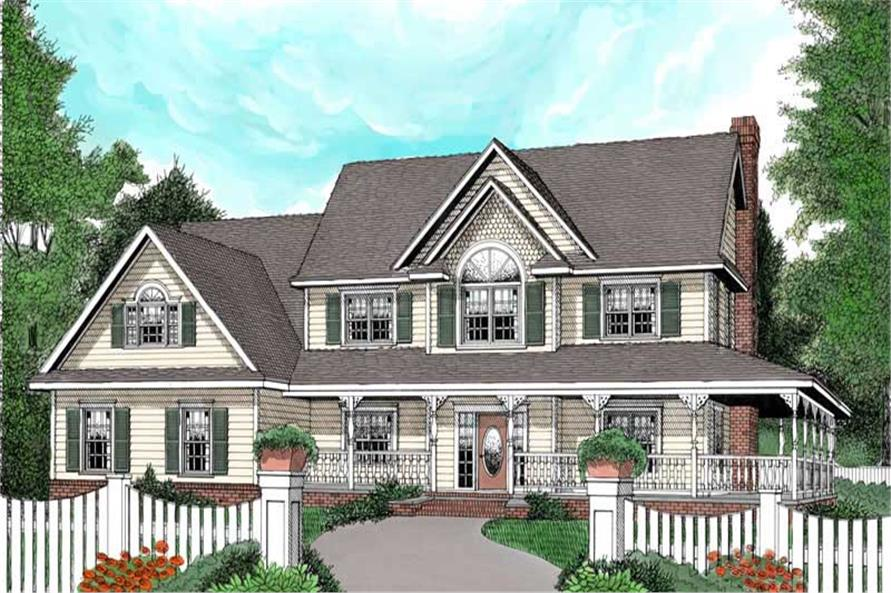 4-Bedroom, 2579 Sq Ft Country Home Plan - 173-1013 - Main Exterior