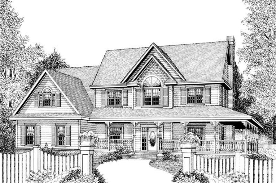 Home Plan Front Elevation of this 4-Bedroom,2579 Sq Ft Plan -173-1013