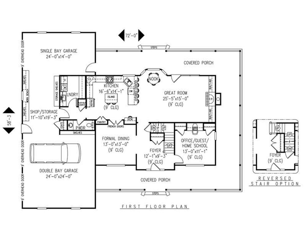 House Plan E161g3 Main Floor Plan