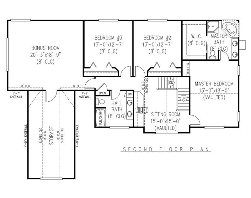 House Plan E161g3 Second Floor Plan