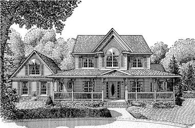 Front elevation of Country home (ThePlanCollection: House Plan #173-1014)