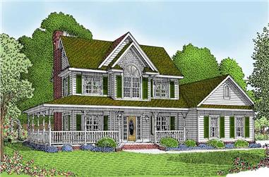 4-Bedroom, 1840 Sq Ft Country Home Plan - 173-1015 - Main Exterior