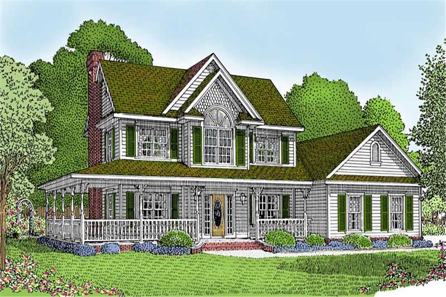 Front elevation of Country home (ThePlanCollection: House Plan #173-1015)