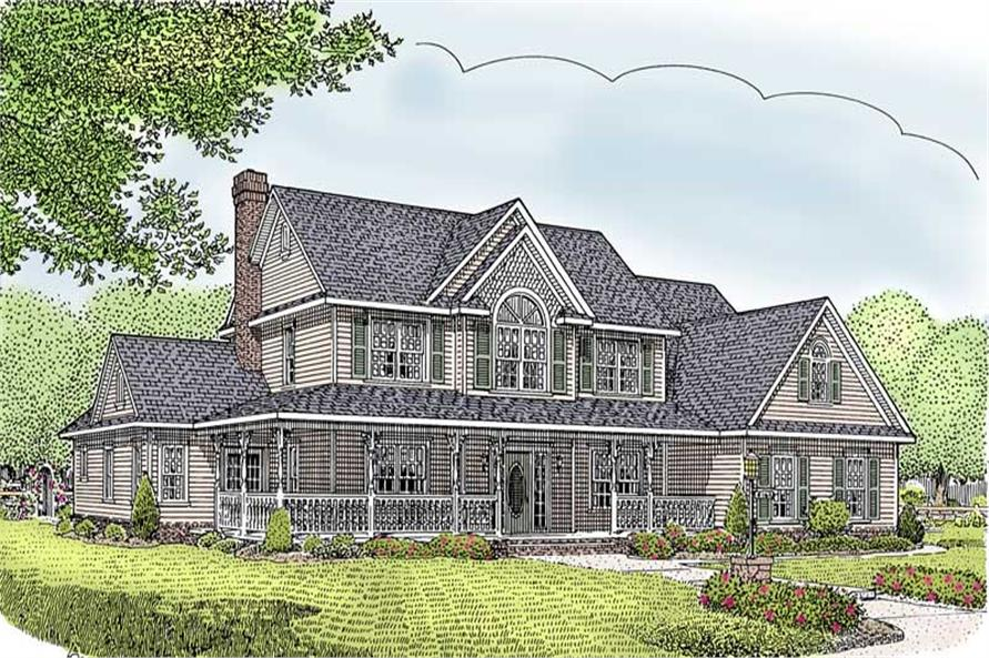 5-Bedroom, 2599 Sq Ft Country House Plan - 173-1020 - Front Exterior