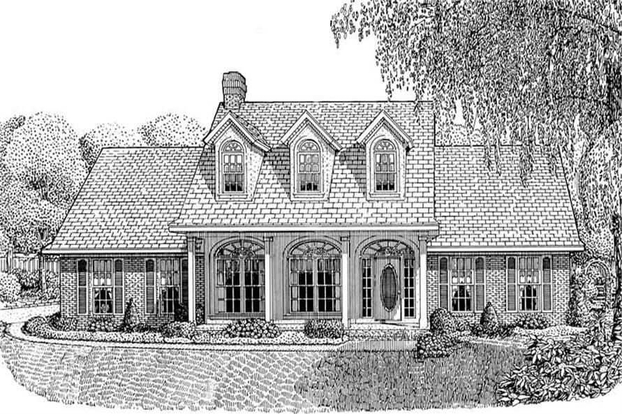Front elevation of Country home (ThePlanCollection: House Plan #173-1022)