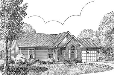 3-Bedroom, 1200 Sq Ft Country Home Plan - 173-1023 - Main Exterior