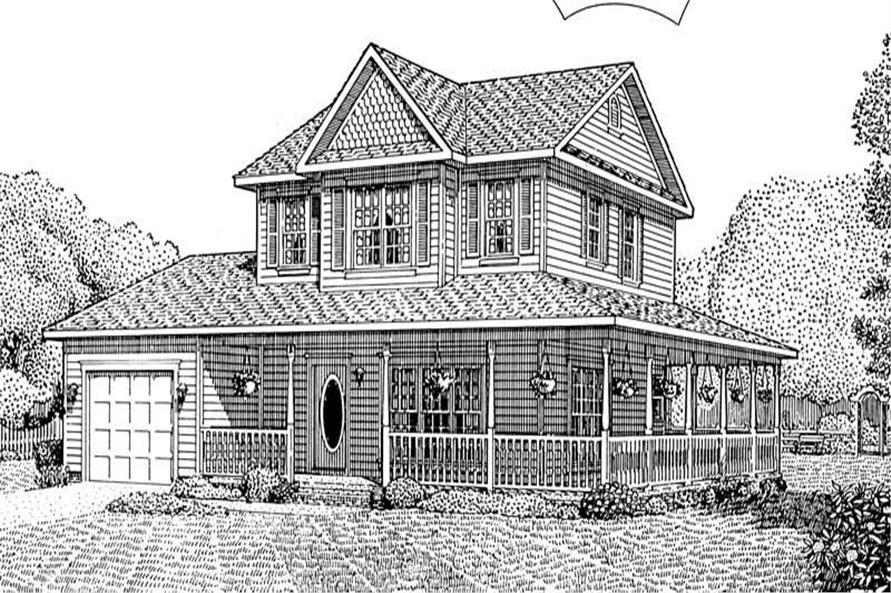 3-Bedroom, 1399 Sq Ft Country Home Plan - 173-1028 - Main Exterior