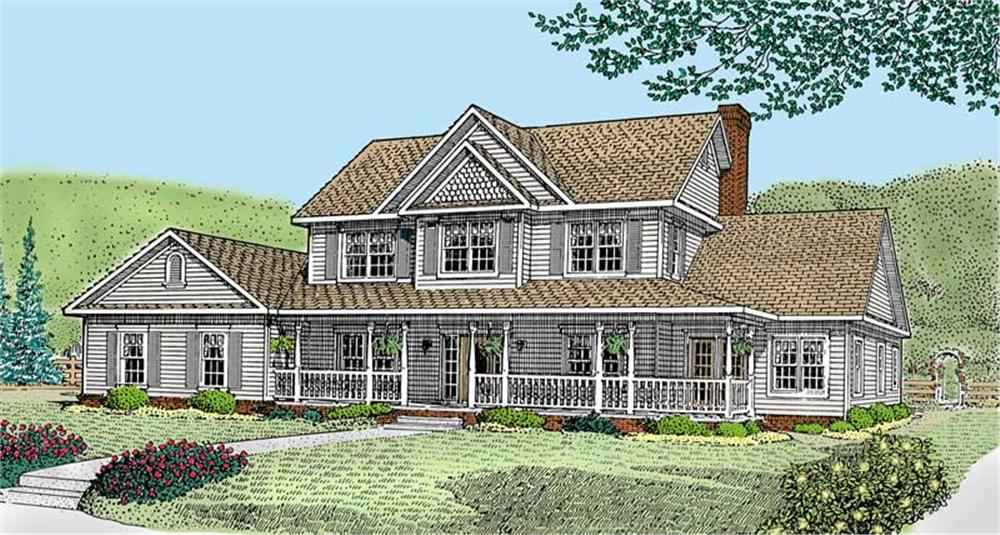 Front elevation of Country home (ThePlanCollection: House Plan #173-1029)