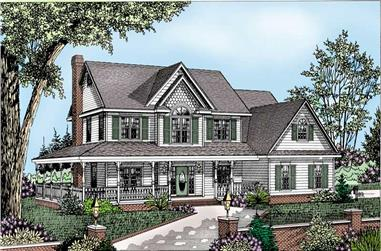 4-Bedroom, 2198 Sq Ft Country Home Plan - 173-1035 - Main Exterior
