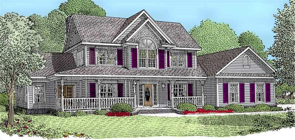 Front elevation of Country home (ThePlanCollection: House Plan #173-1036)
