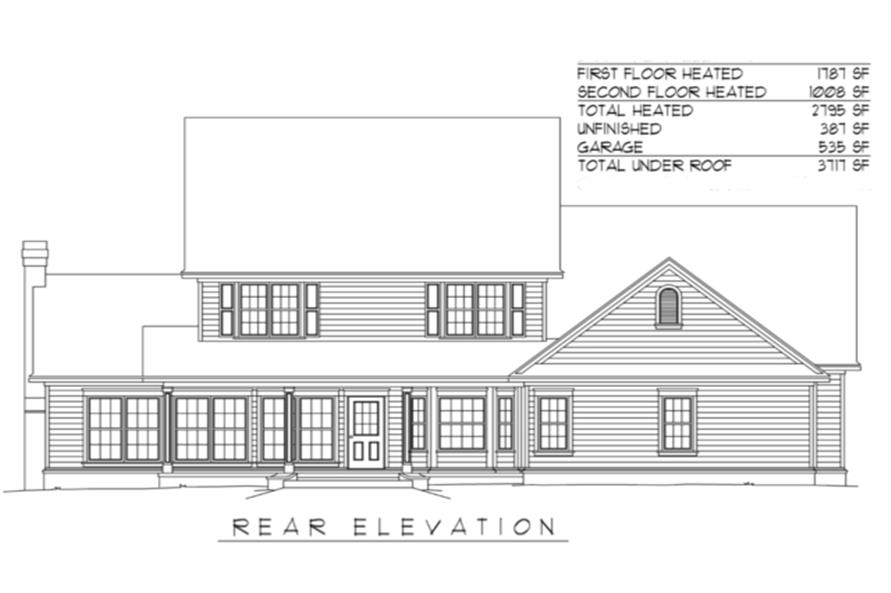 Home Plan Rear Elevation of this 4-Bedroom,2795 Sq Ft Plan -173-1037