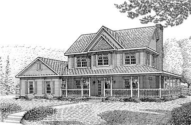 4-Bedroom, 2266 Sq Ft Country Home Plan - 173-1038 - Main Exterior