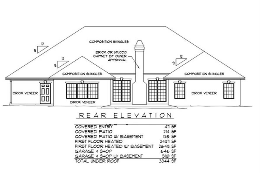 Home Plan Rear Elevation of this 3-Bedroom,2437 Sq Ft Plan -173-1040