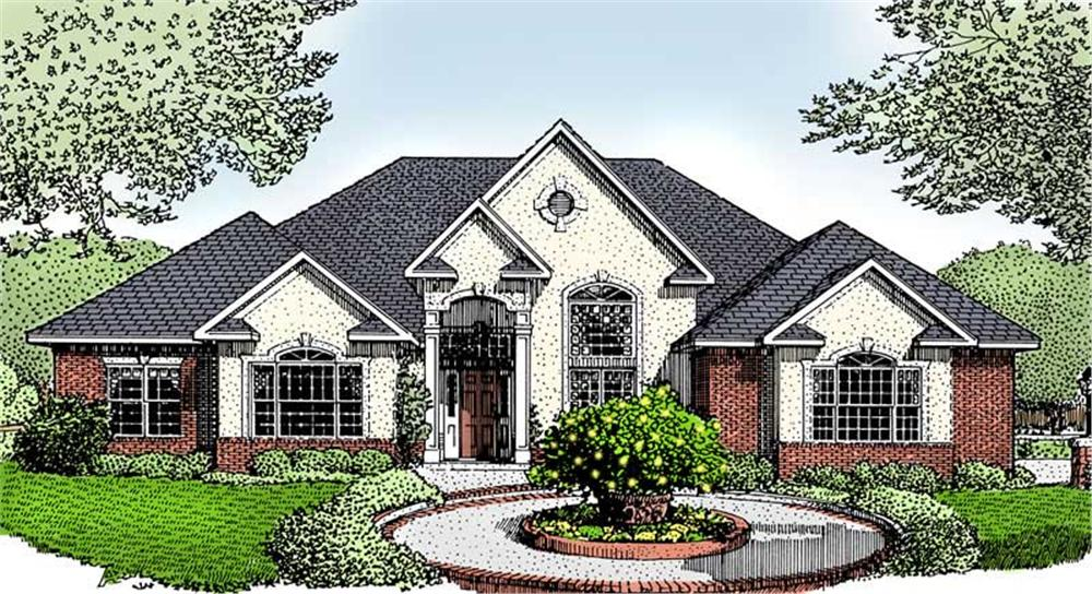Front elevation of Contemporary home (ThePlanCollection: House Plan #173-1040)