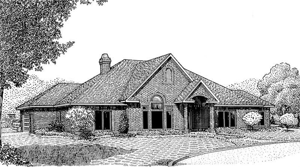 Front elevation of Ranch home (ThePlanCollection: House Plan #173-1041)