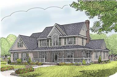 5-Bedroom, 2599 Sq Ft Country House Plan - 173-1044 - Front Exterior