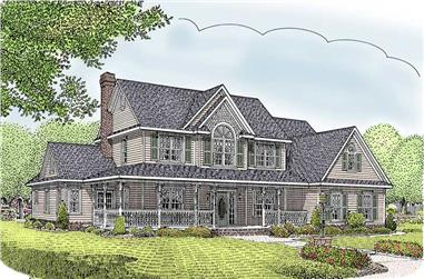 5-Bedroom, 2984 Sq Ft Country House Plan - 173-1045 - Front Exterior