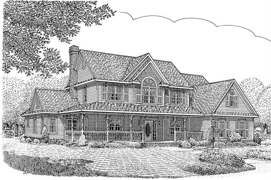 Home Plan Front Elevation of this 5-Bedroom,2984 Sq Ft Plan -173-1045