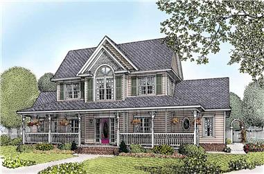 4-Bedroom, 2433 Sq Ft Country House Plan - 173-1046 - Front Exterior