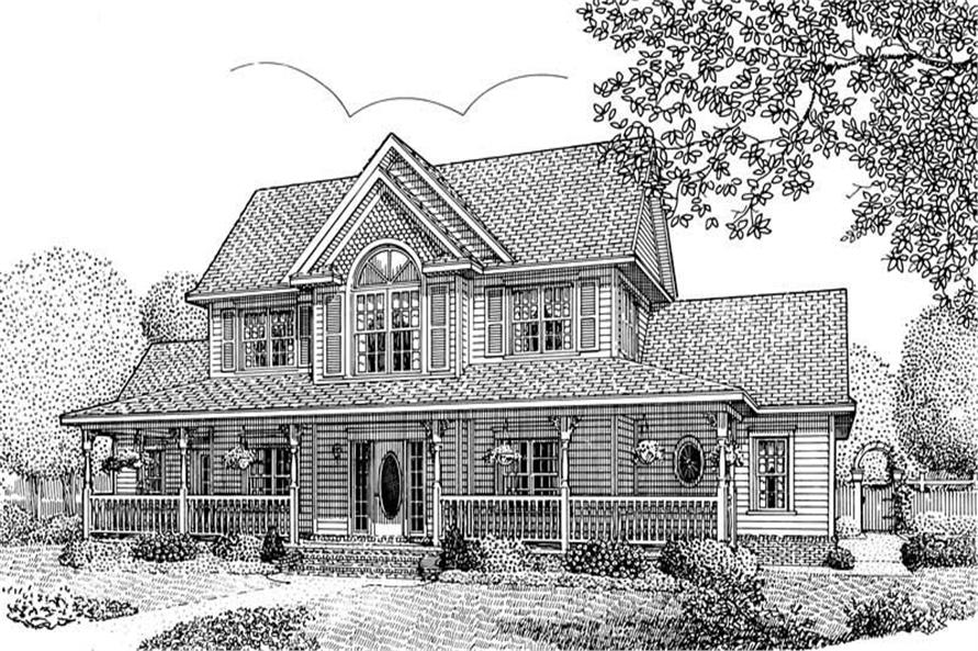 Home Plan Front Elevation of this 4-Bedroom,2433 Sq Ft Plan -173-1046