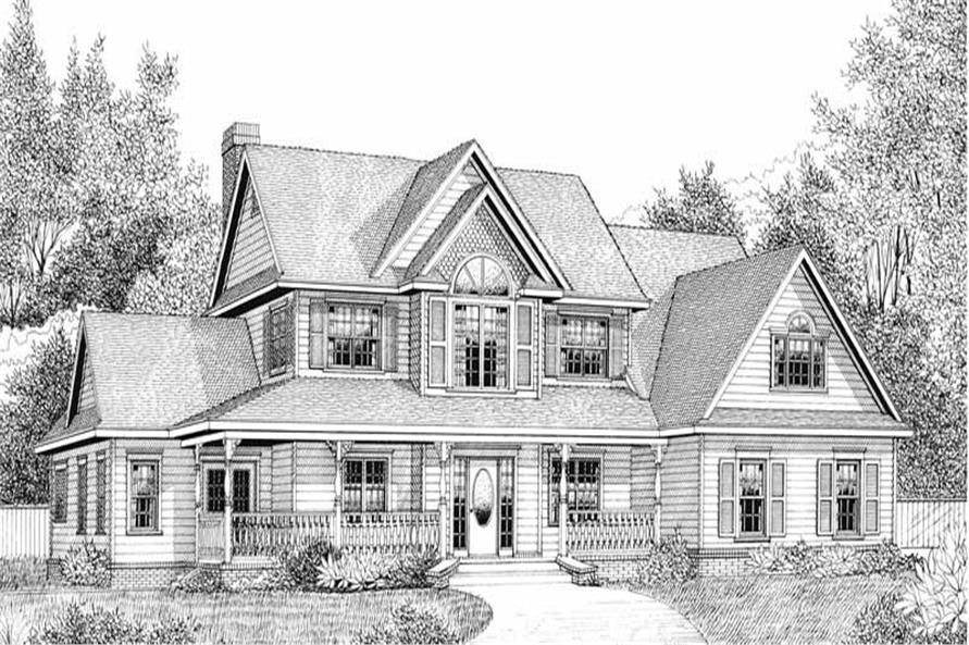 Home Plan Front Elevation of this 4-Bedroom,2302 Sq Ft Plan -173-1047
