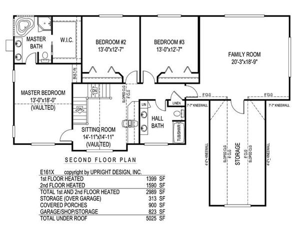 House Plan E161X Second Floor Plan