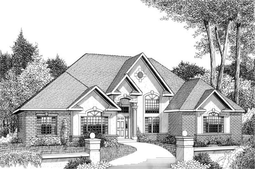 Home Plan Front Elevation of this 3-Bedroom,2836 Sq Ft Plan -173-1050