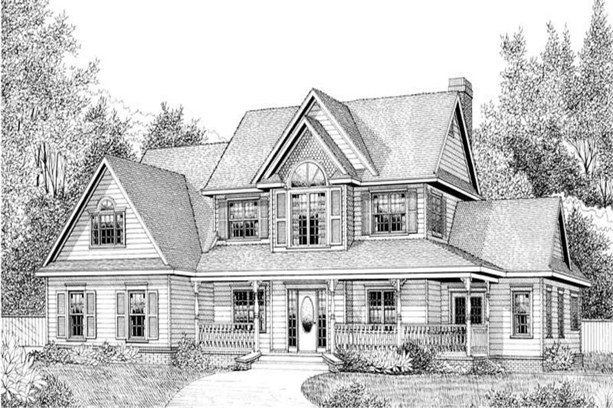 Home Plan Front Elevation of this 4-Bedroom,2302 Sq Ft Plan -173-1051