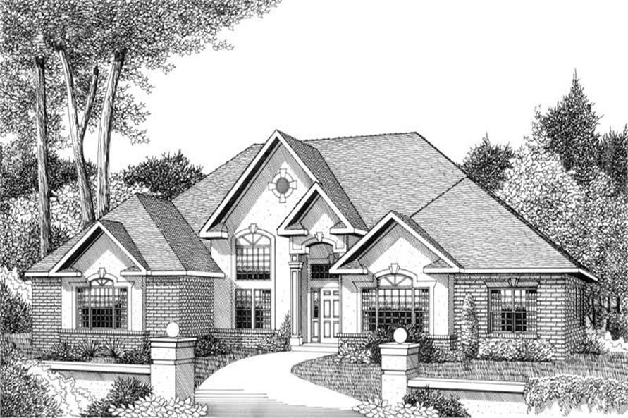 Home Plan Front Elevation of this 3-Bedroom,2615 Sq Ft Plan -173-1052