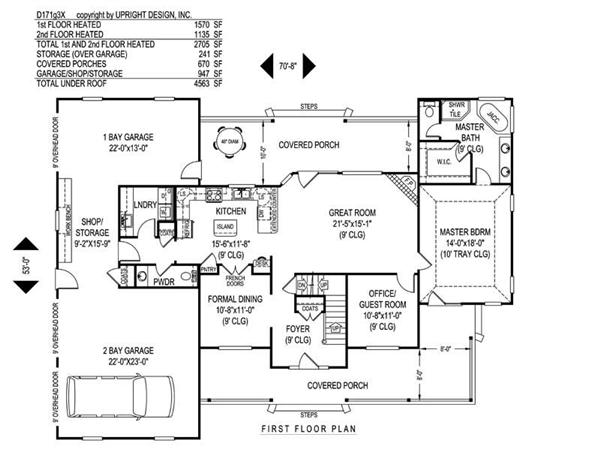 House Plan D171g3X Main Floor Plan