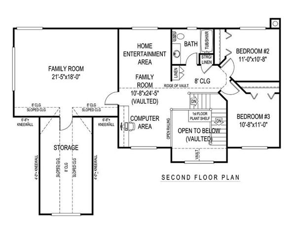 House Plan D171g3X Second Floor Plan