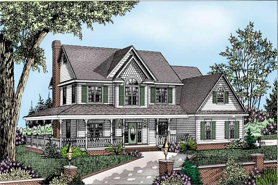 4-Bedroom, 2583 Sq Ft Country House Plan - 173-1054 - Front Exterior