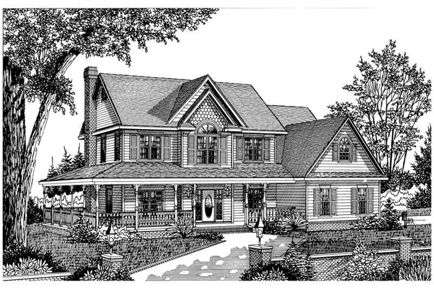 Home Plan Front Elevation of this 4-Bedroom,2583 Sq Ft Plan -173-1054