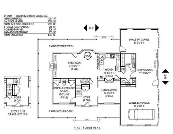 House Plan D162g3X Main Floor Plan