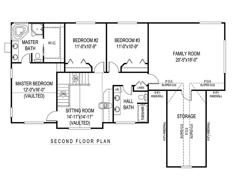 House Plan D162g3X Second Floor Plan